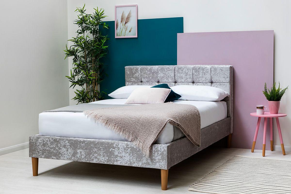Modern Silver Crushed Velvet King Size Bed Frame Velvet