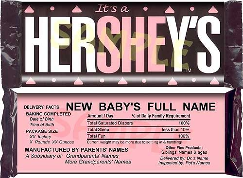 1000 images about Baby related – Hershey Bar Birth Announcements