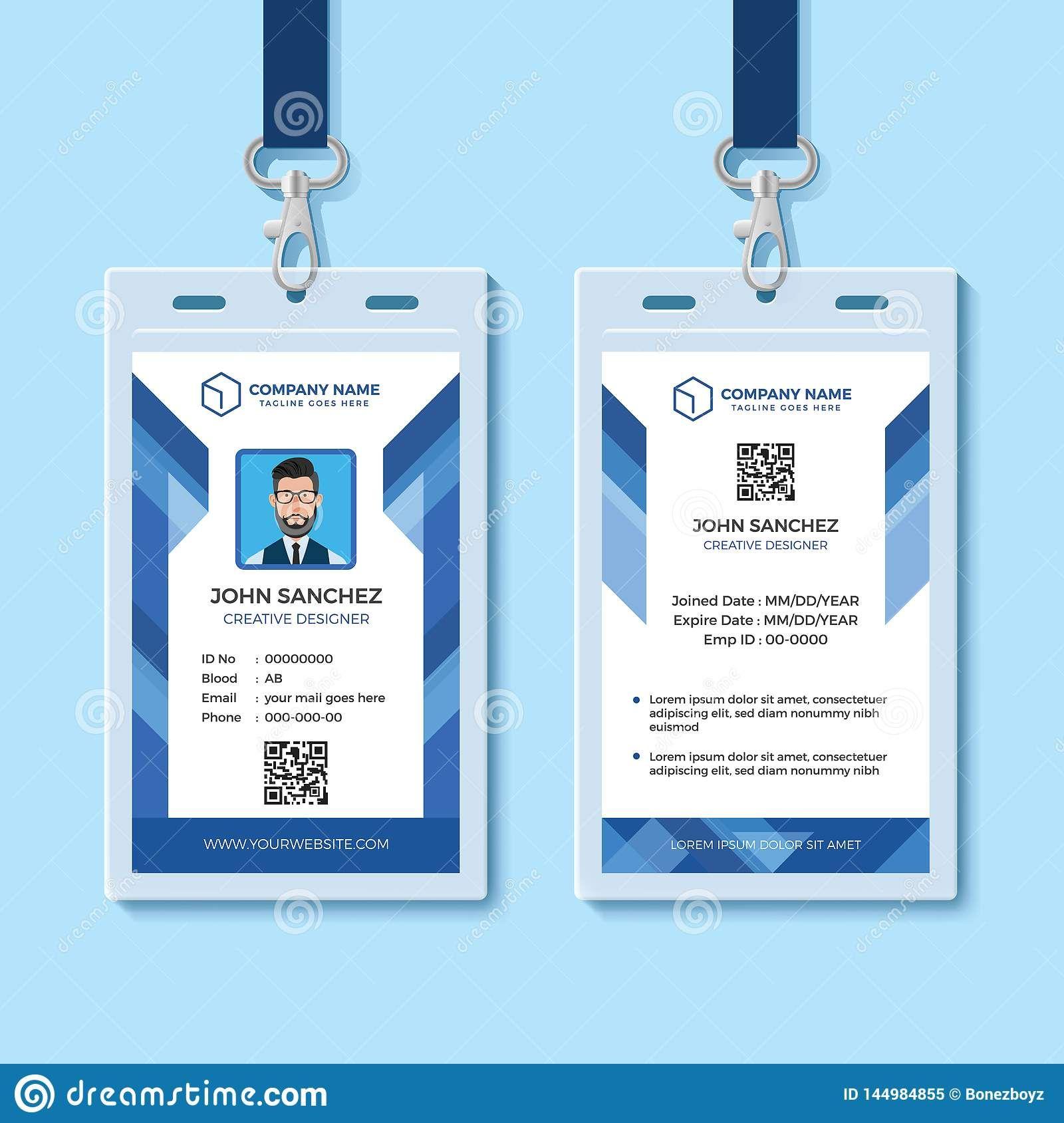 Blue Employee Id Card Design Template Stock Vector Regarding