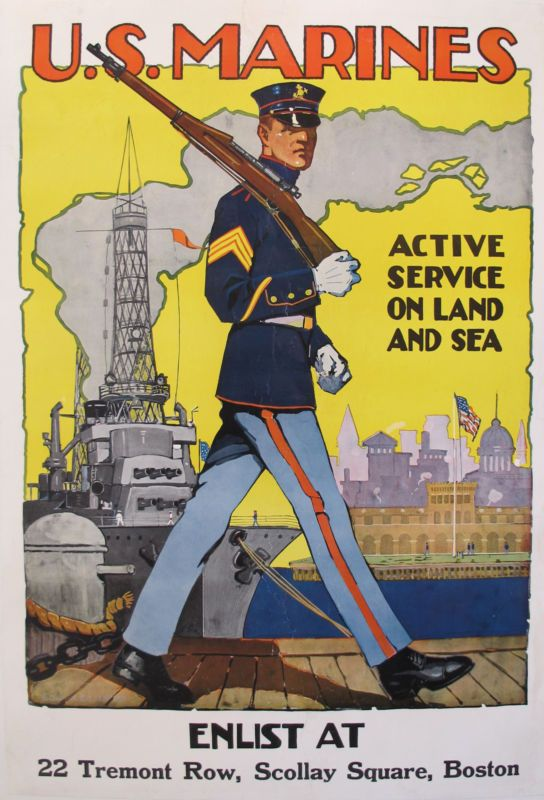 1918 Original American Ww1 Marine Recruitment Poster By