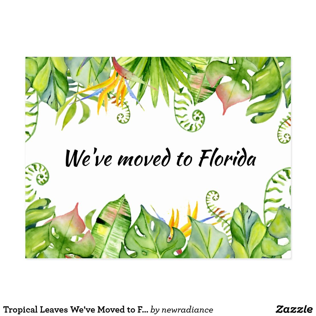Tropical Leaves We Ve Moved To Florida New Address Postcard