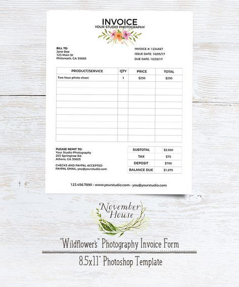 Photography Invoice, Client Invoice Form for Photographers - Service Forms In Pdf