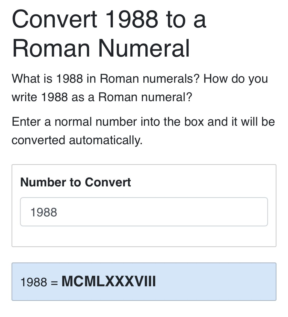 how to write 1988 in roman numerals