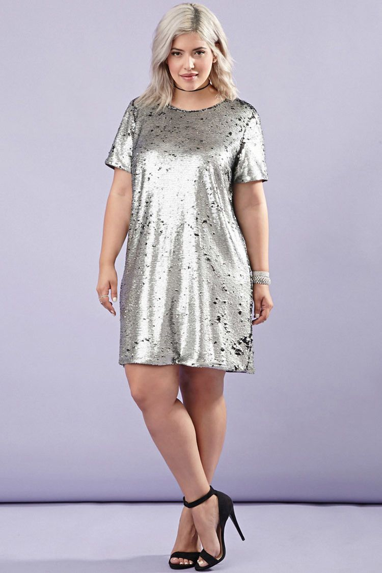 Awesome Awesome Forever 21 Plus Size Black Silver Sequin Shift Party