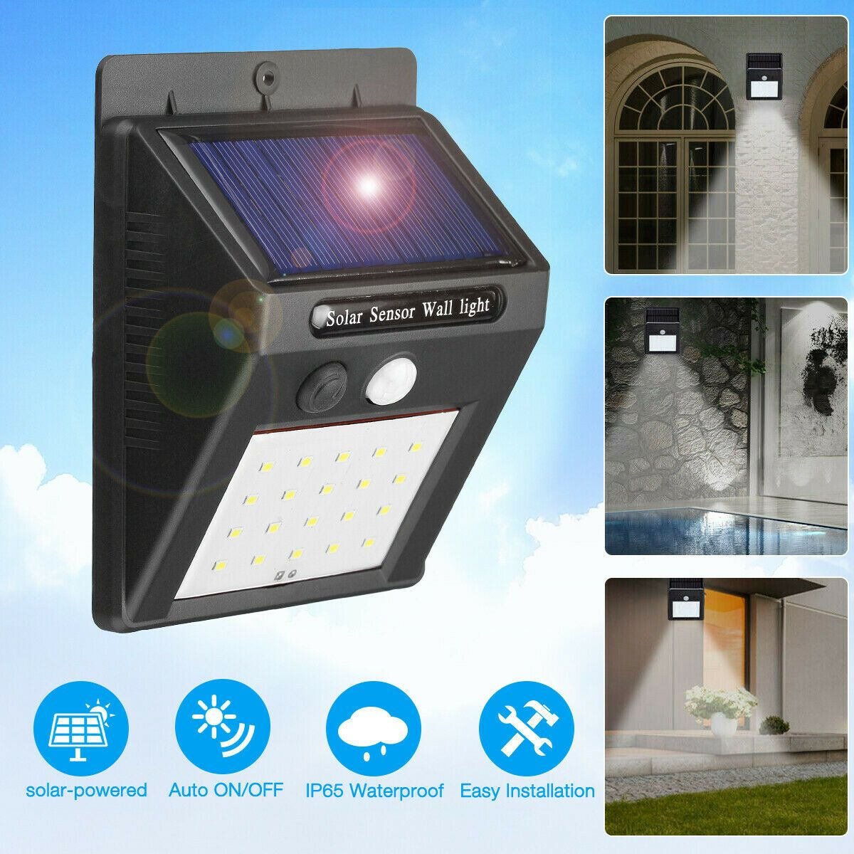 Details about 20 LED Solar Power Motion Sensor Outdoor Waterproof ...