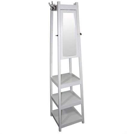 Ore International 40 40Tier White Tower ShoeCoat Rack Plus Mirror Cool Ore Coat Rack