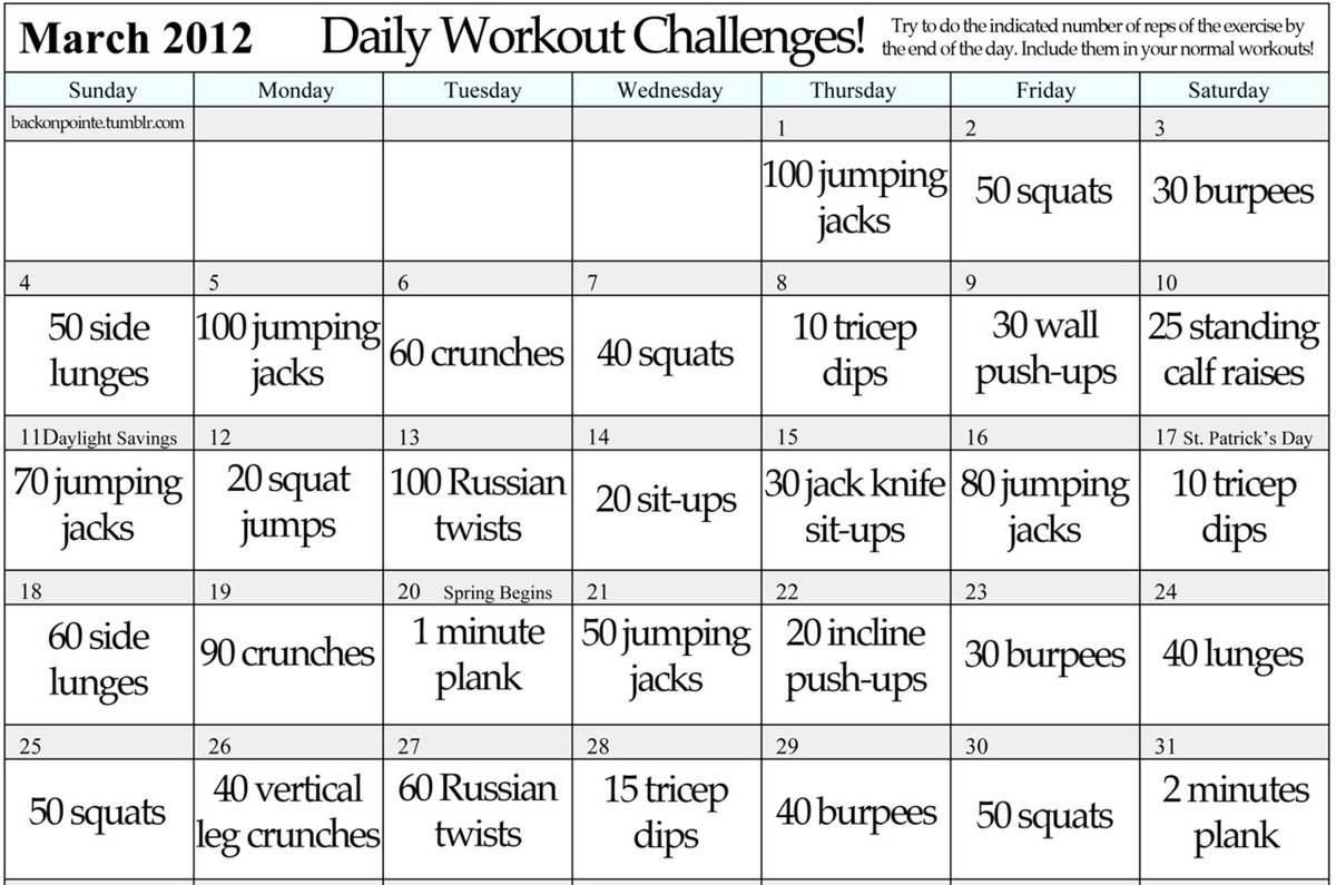 Monthly Workout Plan Lets Do This
