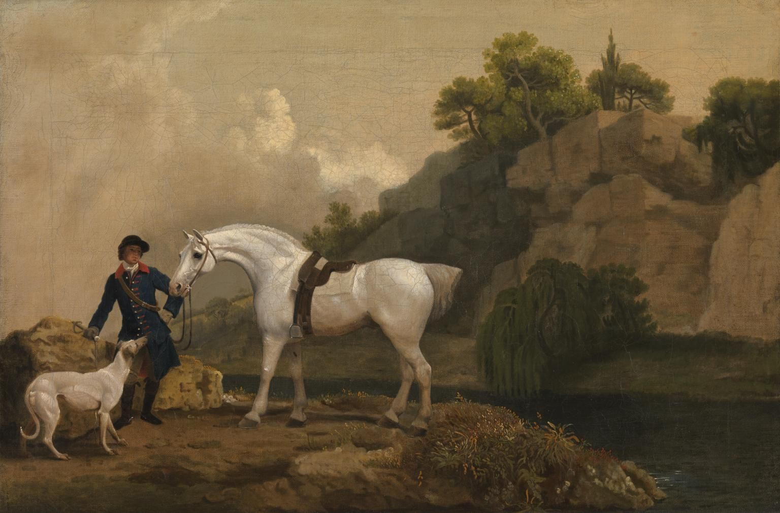 George Stubbs \'A Grey Hunter with a Groom and a Greyhound at ...