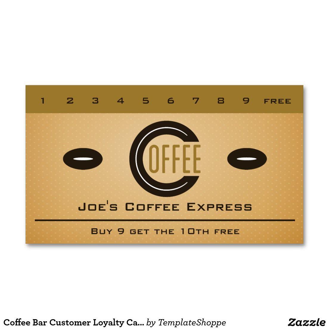 Coffee Bar Customer Loyalty Card / Punch Card   Loyalty cards