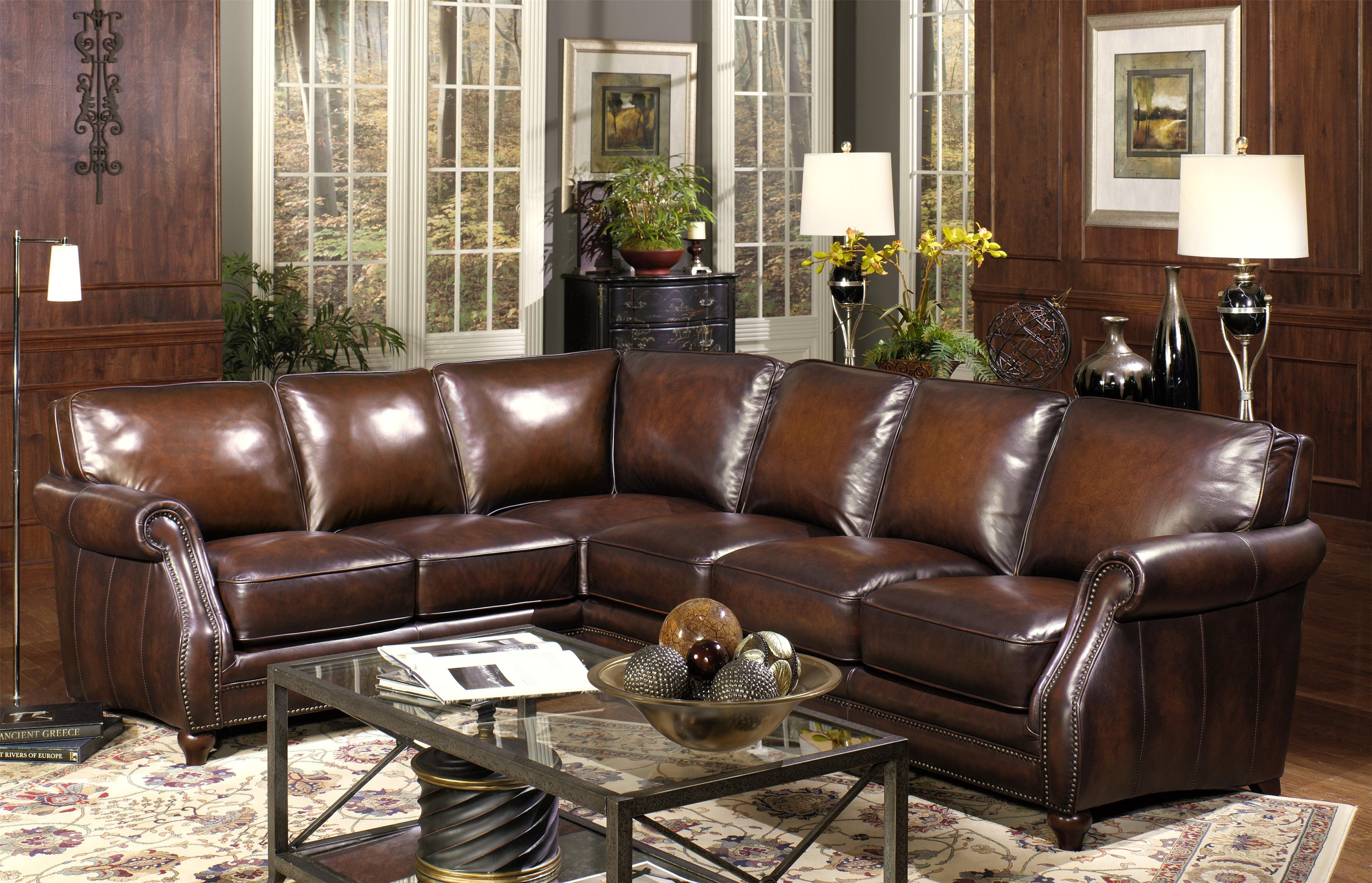 Traditional Two Piece Leather Sectional Sofa With Rolled Arms And Nailhead  Trim