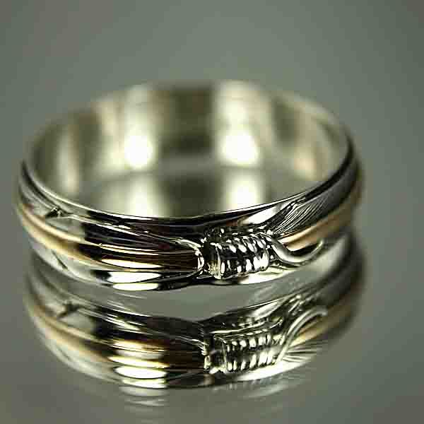 NATIVE AMERICAN Gold Silver Feather Wedding Band Ring Wedding