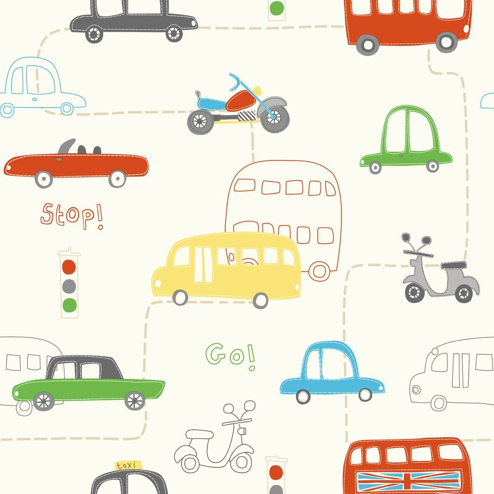 Fine Decor Rush Hour Hoopla Wallpaper Red Green Yellow - Boys car wallpaper designs
