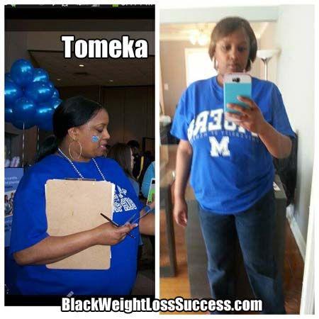 Tomeka lost 40 pounds and decreased her blood pressure meds.