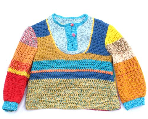 best kids sweater - stripes in different widths using various types and colors of yarn