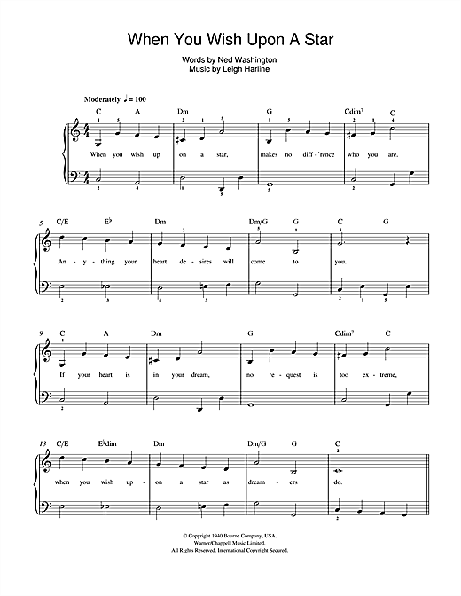 photo regarding Free Printable Disney Sheet Music called The moment Your self Want On A Star (versus Disneys Pinocchio) via Cliff