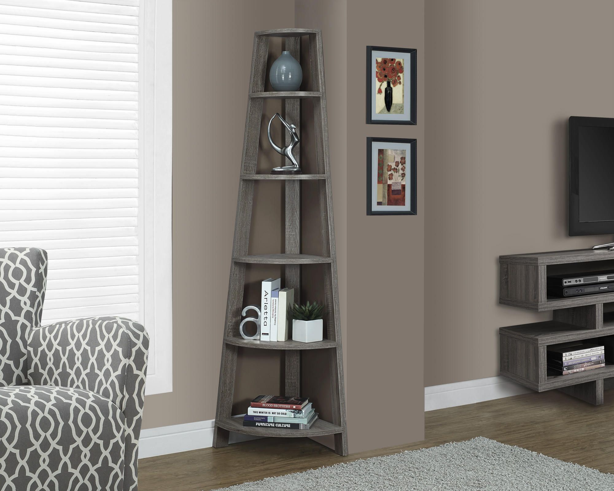 furniture corner pieces. Monarch Specialties Dark Taupe Reclaimed-Look Corner Accent Etagere, Add The Perfect Piece To Any Room With This Reclaimed Wood-look Furniture Pieces T