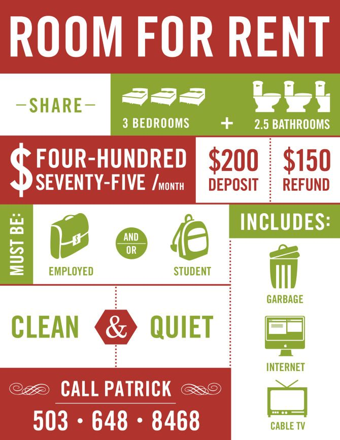 Room For Rent Flyer...Genius...Brilliant!  For Rent Flyer Template