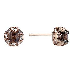 Le Vian 14ct Rose Gold Smokey Quartz Diamond Stud Earrings Product Number 1783602 Diamond Studs Diamond Earrings Studs Stud Earrings