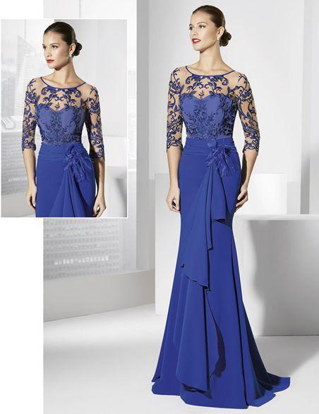 Vestido de fiesta largo azul cobalto con caída en el lateral.   Blue ...