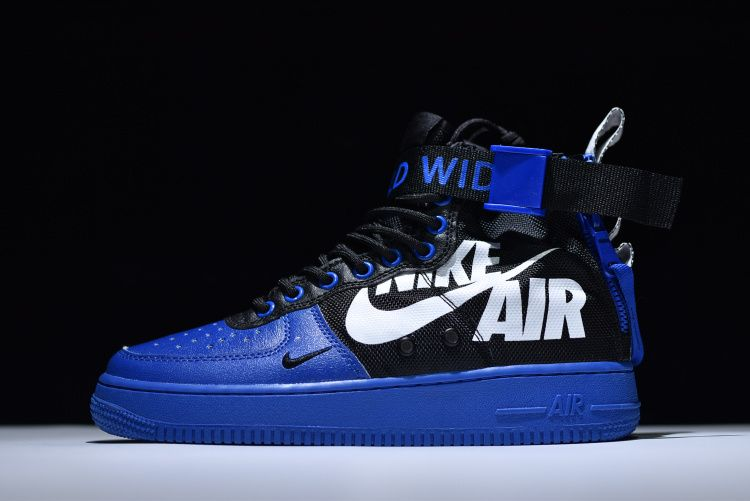 huge selection of 229b9 225c3 NIKE SF AIR FORCE 1 MID QS ROYAL BLUE BLACK ICM61909