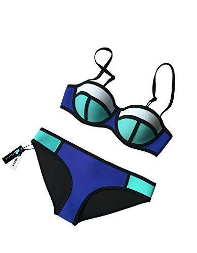 4a3de1a0b69e0 MUXILOVE MUXILOVE Color Conjoin Women Neoprene Bikini Set Swimwear ...