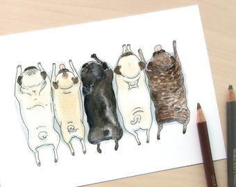 Items similar to Pee Pilates black pug art - funny pug print, peeing pug decor, black pug painting, bathroom decor, pug art for bathroom by Inkpug on Etsy