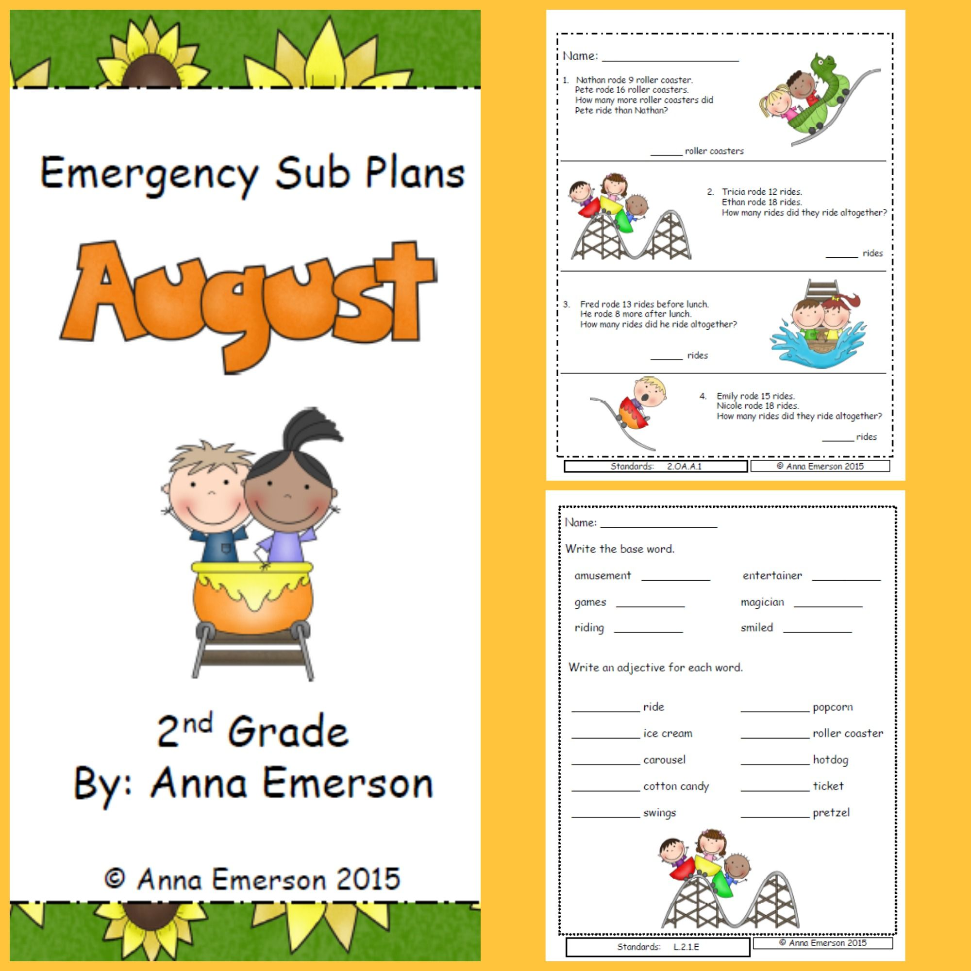 Emergency Sub Plans August For Second Grade
