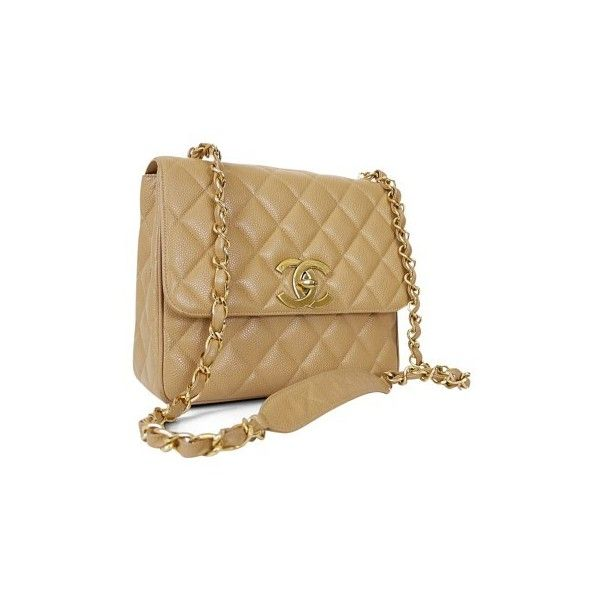 4381fd520 Chanel Nude Caviar Classic Flap Vintage Beige Cross Body Bag ❤ liked on Polyvore  featuring bags, handbags, shoulder bags, nude purses, nude handbags, ...