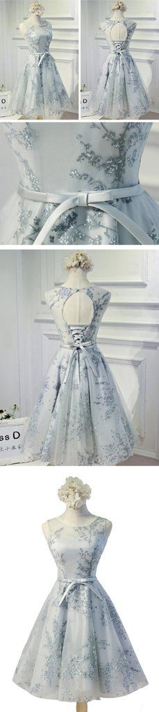 Vintage Sleeveless Round Neck Keyhole Lace Up Back Bow Sash Printing Tulle Knee Length Homecoming Dress,BD0118