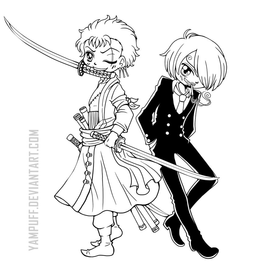 Sanji and Roronoa Zoro from One Piece. Frenemies