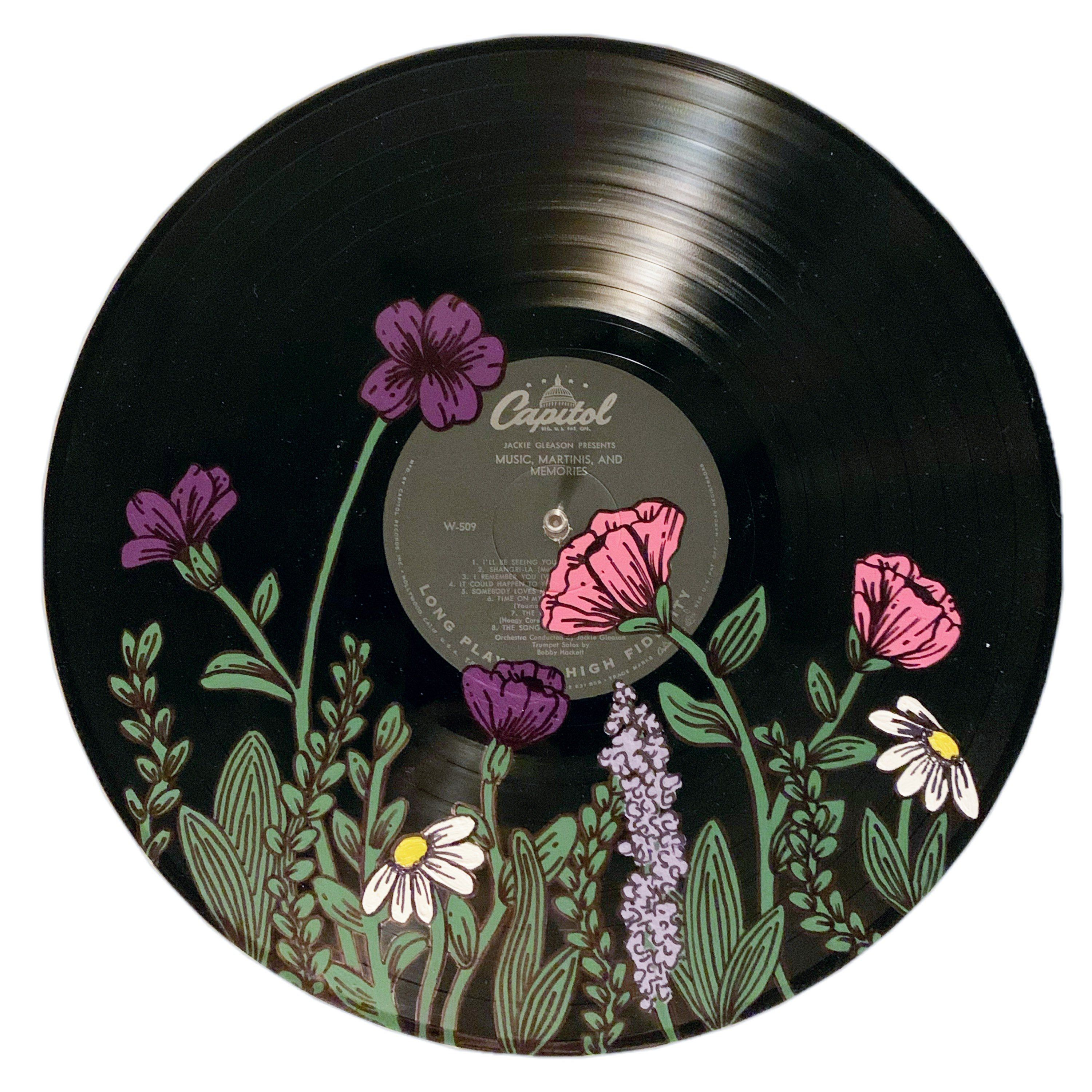 Photo of Wildflowers Painted Record – Hand painted vinyl records/wall decor/painted record/custom wall art
