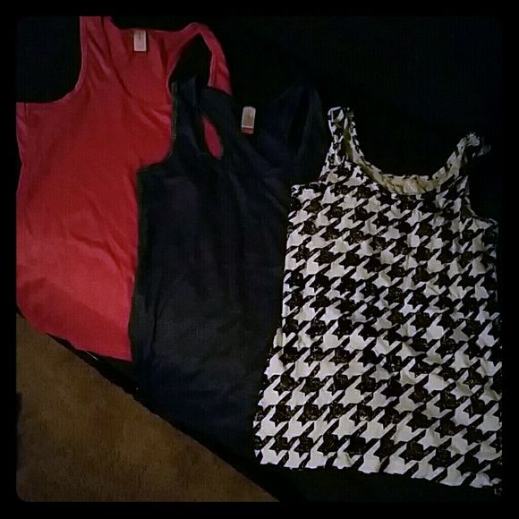Bundle of 3 tanks Pink and blue are sparkly. All the same size. Large, but fits sung. No Boundaries Tops Tank Tops