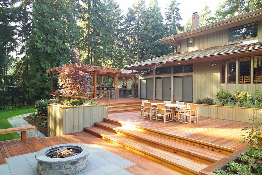 A 1700 square foot, 2-level deck, outdoor kitchen, and firepit ...