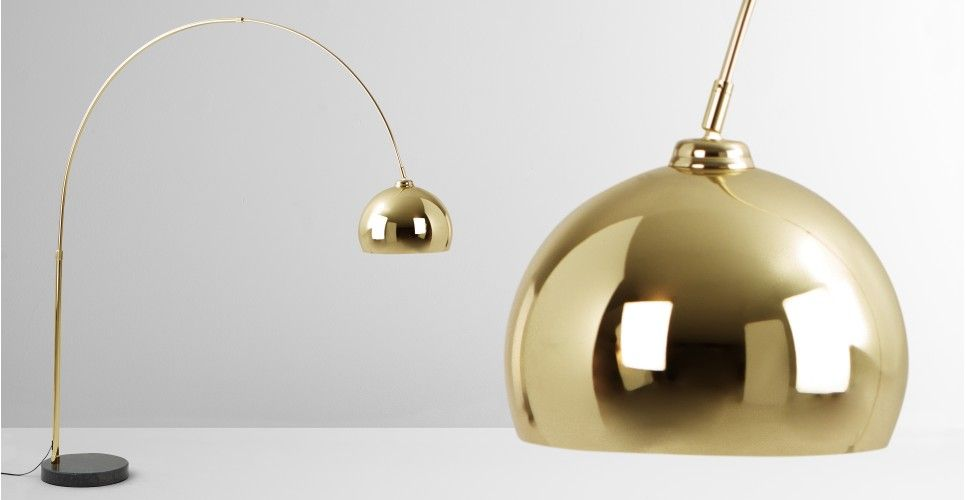 Bow, Large Floor Lamp Brass and Black Marble | made.com