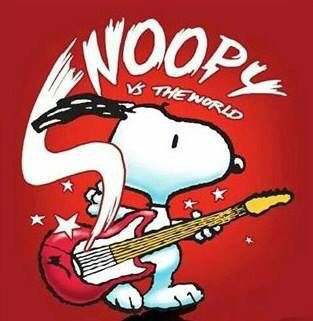 Snoopy playing the electric guitar