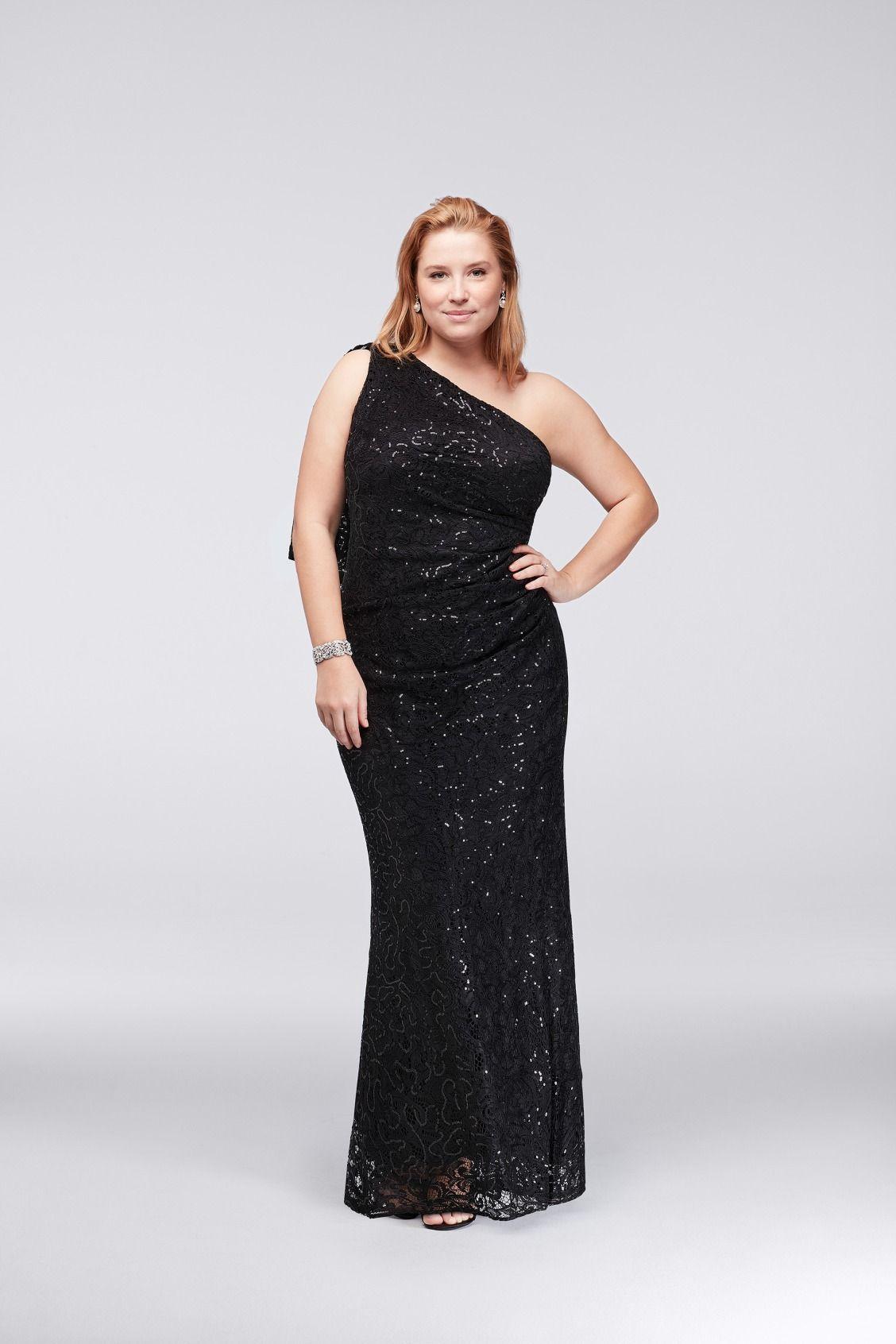 one-shoulder sequin lace plus size mother of the bride dress