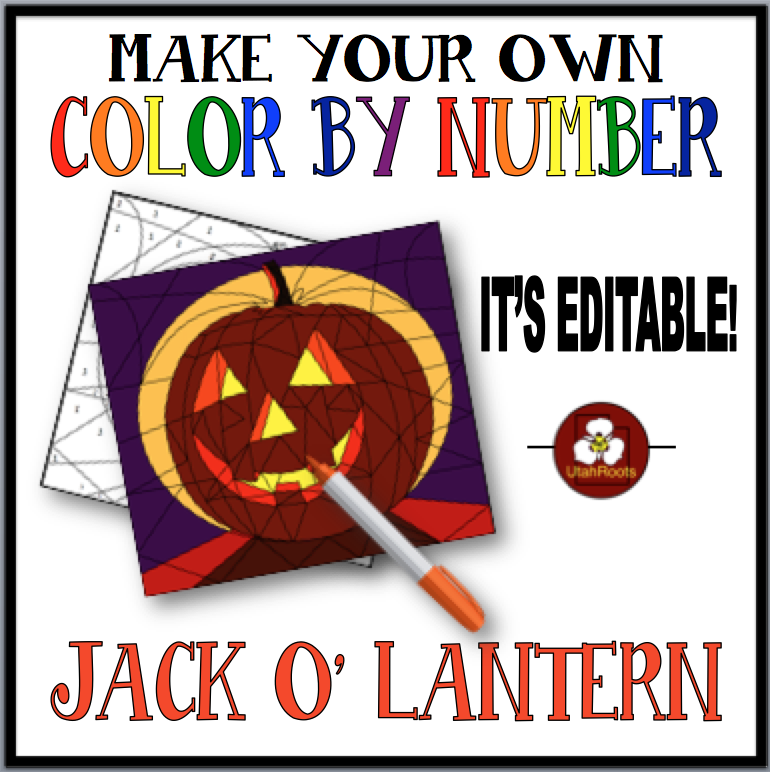 Make Your Own Color By Number Jack O\' Lantern Editable Color By ...