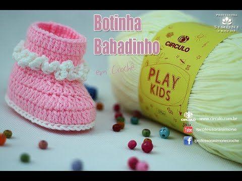 c09357c827b6f Botinha de Bebê em Crochê Babadinhos - Professora Simone Gorro De Crochê