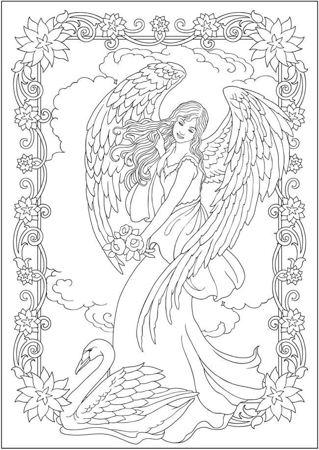 Creative haven elegant angels coloring book by marty noble welcome to dover publications coloring page 1 6