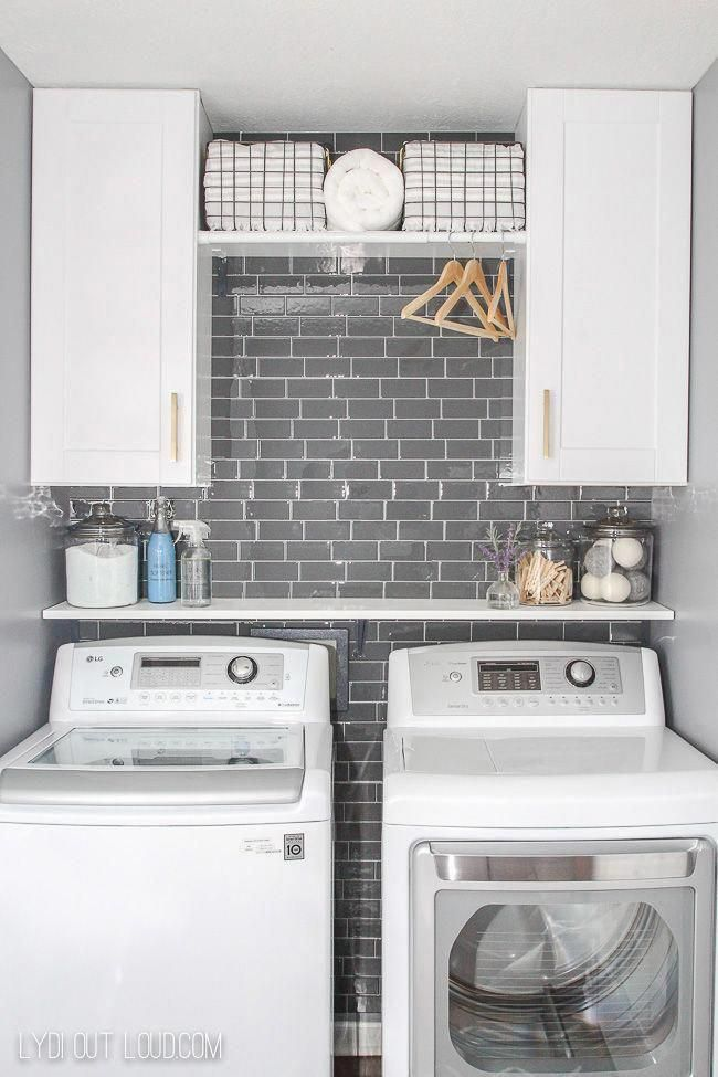 Laundry Room with Gray Subway Tile #roomremodelideas #graylaundryrooms