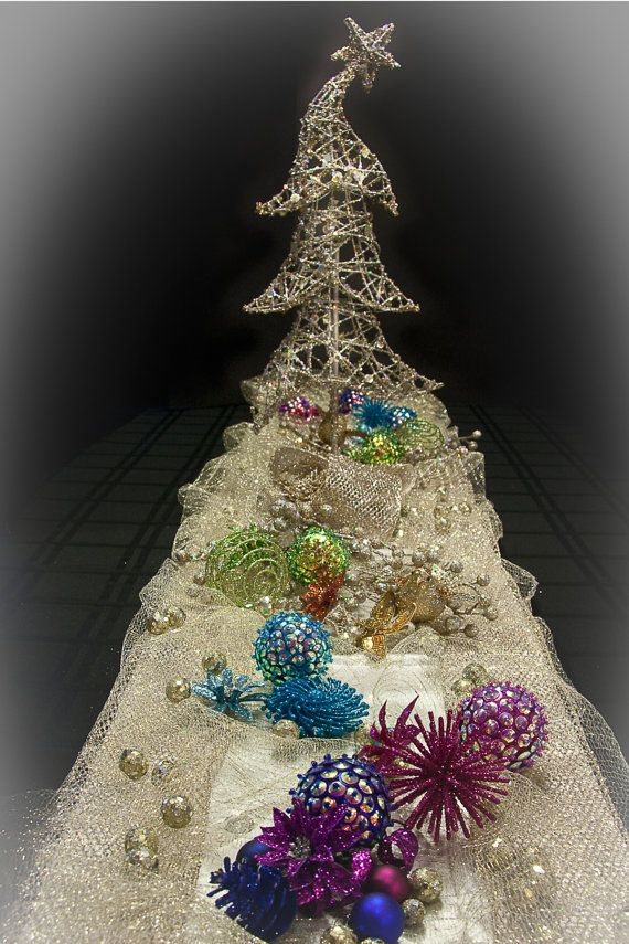 Whimsical and Glitzy Christmas Tree Table by DeasDesigns on Etsy, $249.00