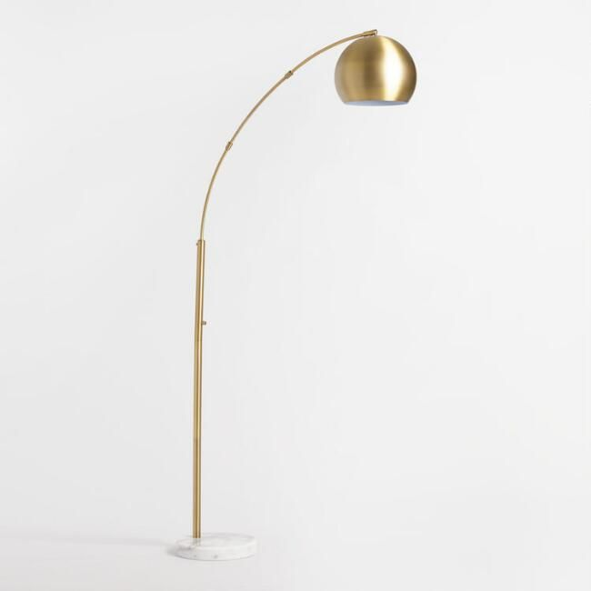 Brass Arc And White Marble Hayden Floor Lamp Floor Lamp Tall Floor Lamps Tall Lamps