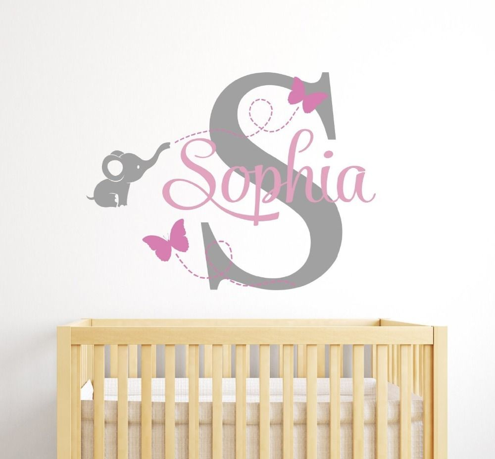 Customized Name Elephant Butteryfly Wall Decal For Girls Kids Baby - Custom removable vinyl decals