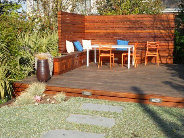 Holz Sitzbank Garten Rasen Terrasse Bodenbelag | Ideen rund ums Haus ...