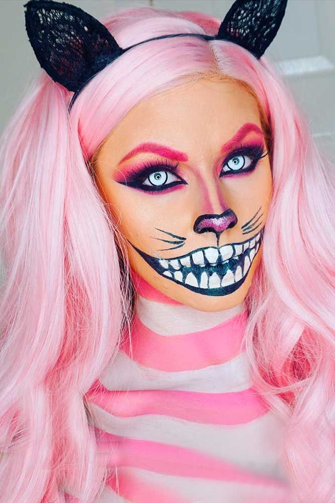 30 Scary Halloween Hairstyles For Long Hair Cute Halloween Makeup Cat Halloween Makeup Halloween Eye Makeup
