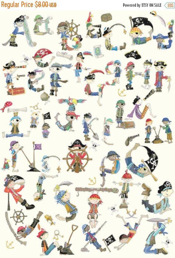 "ON SALE Counted Cross Stitch Patterns - alphabet pirates - 23.64"" x 32.36"" - L1016"