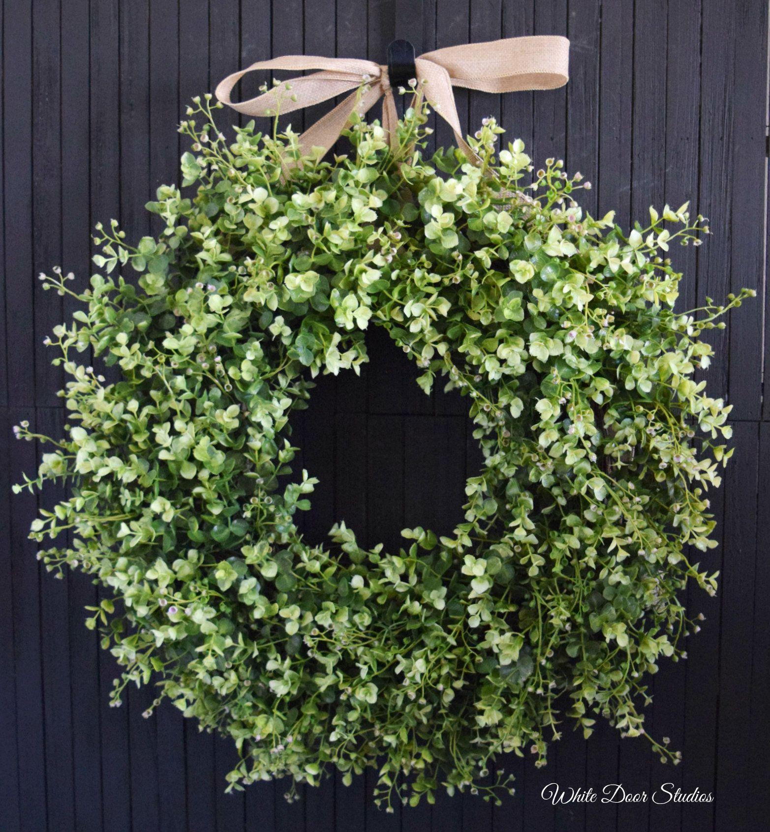 Lush Basswood and Eucalyptus Greenery Year Round Front Door Wreath Boxwood Style Wreath