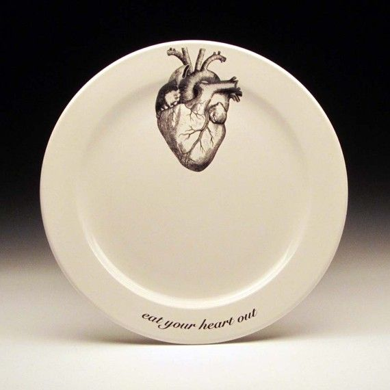 eat your HEART out 9 inch dinner plate by foldedpigs on Etsy $20.00 & eat your HEART out 9 inch dinner plate | Dinners Dinner plate sets ...