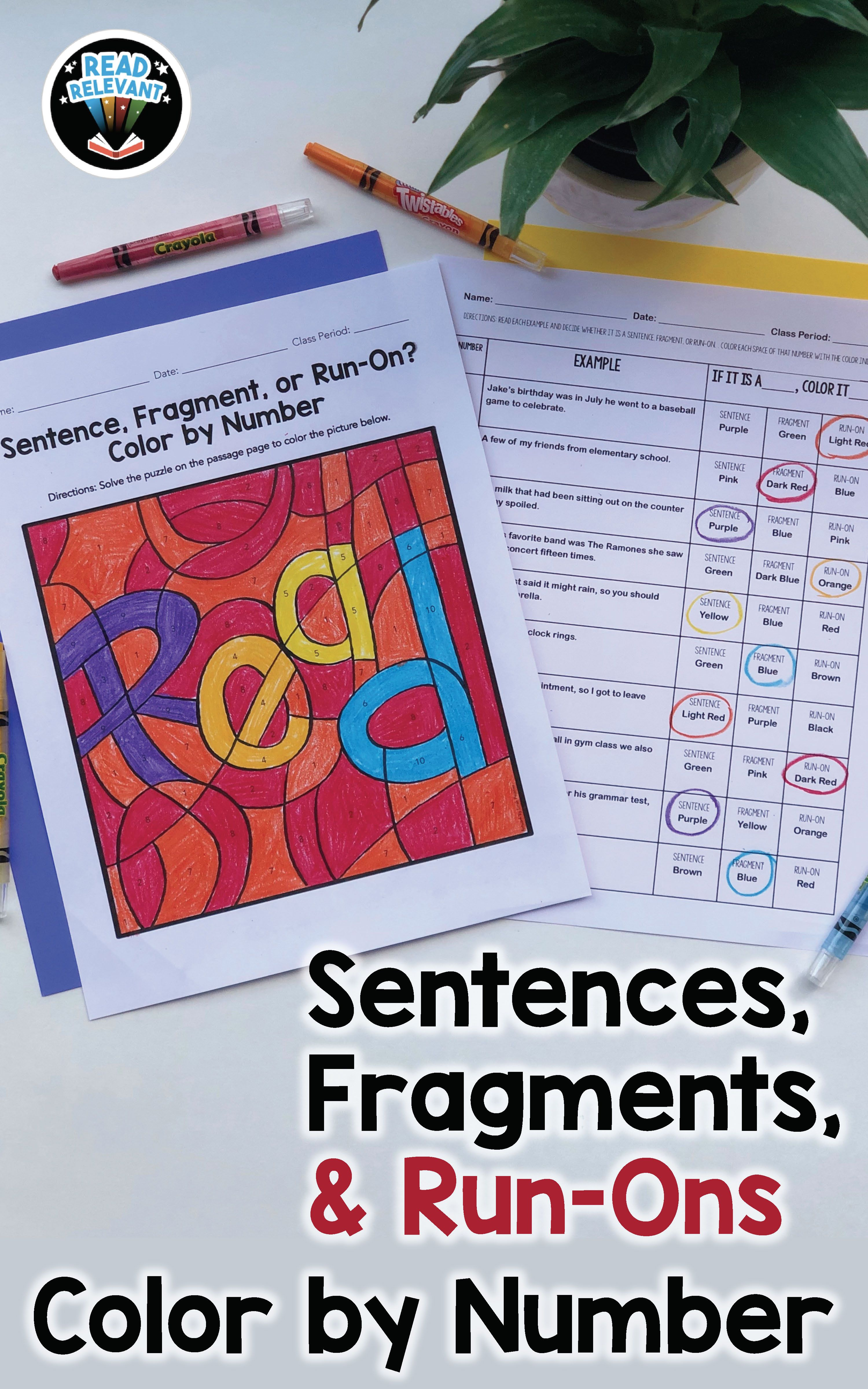 Sentence Fragment Or Run On Color By Number