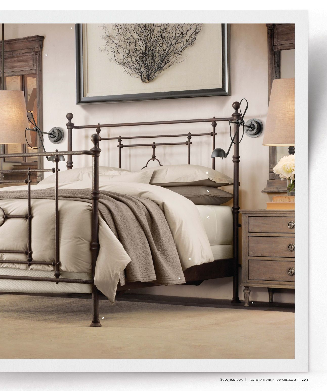 2012 Fall Catalog Restoration Hardware Iron bed, Home